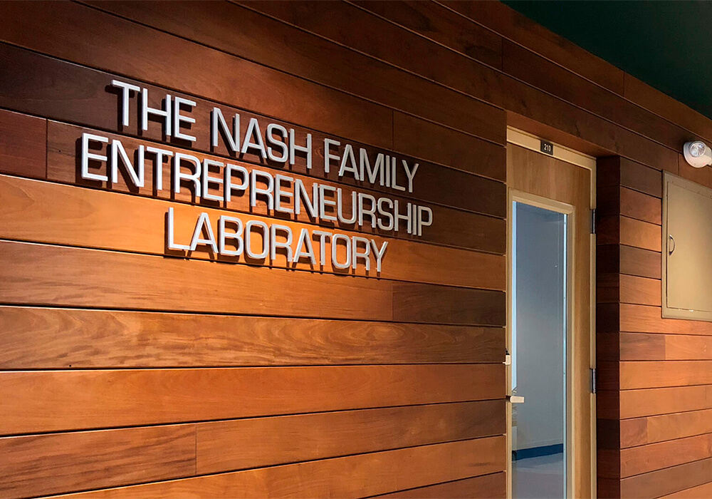 The Nash Family Lab sign